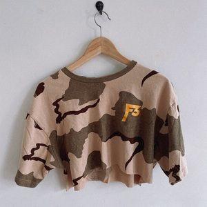 Camo crop top ironic shirt trendy TikTok Ready